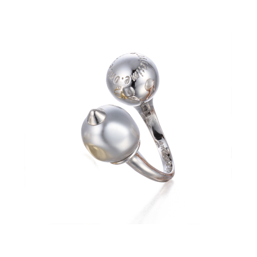 baroque pearl open ring white