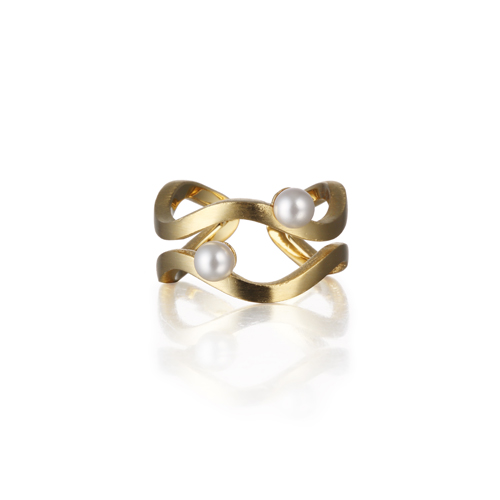 WAVE matt pearl ring gold