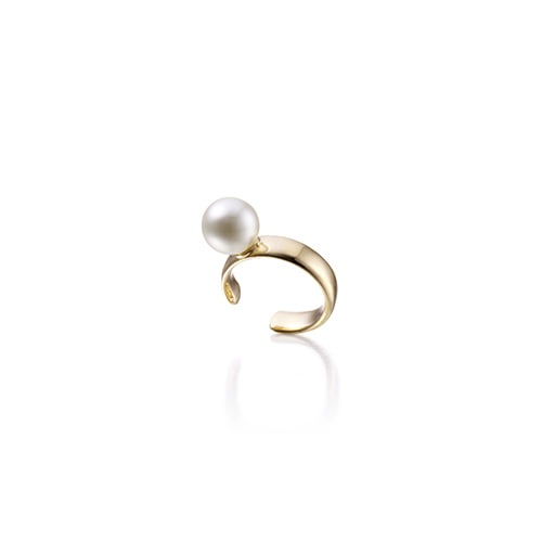 6mm pearl earcuff_yellow gold