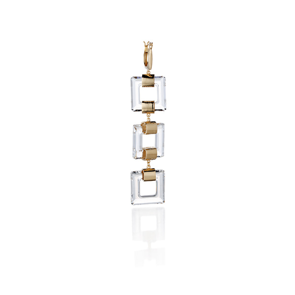 crystal square single earring