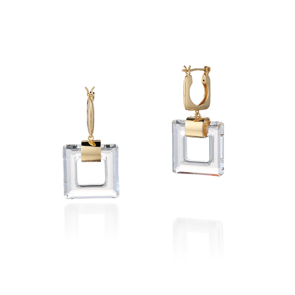 crystal square earring