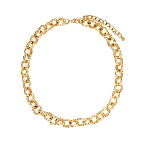 chain necklace 03_hammered chain_yellow gold