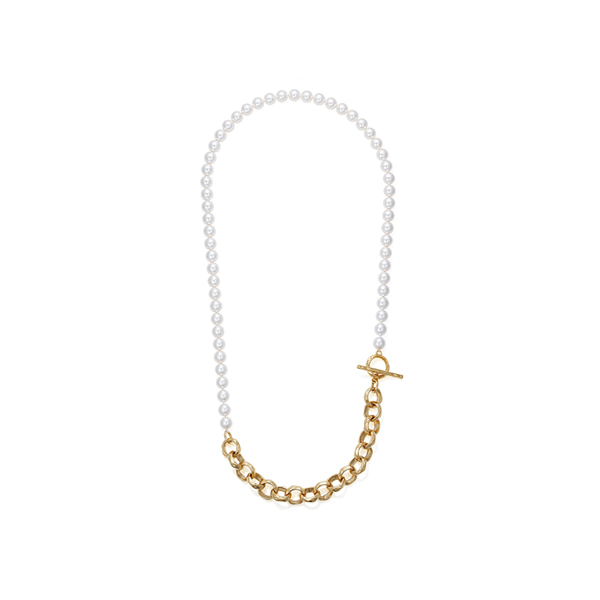 hammered chain_ pearl necklace_ yellow gold