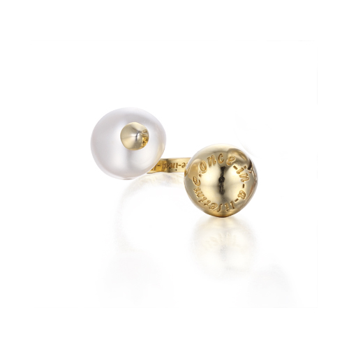 baroque pearl open ring gold
