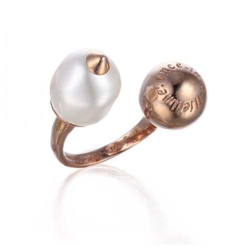 baroque pearl open ring pink