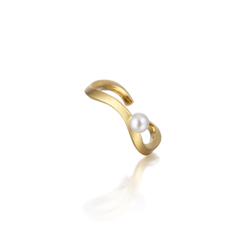 WAVE pearl ring gold
