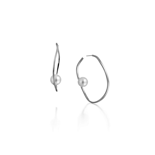 WAVE hoop earring_ white gold