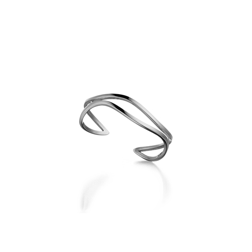 WAVE_ two line cuff_ white gold