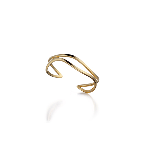 WAVE_ two line cuff_ yellow gold