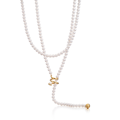 curly pearl long necklace