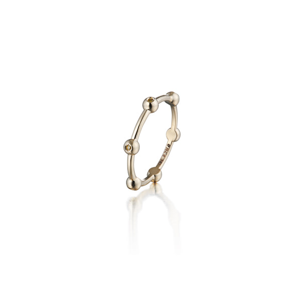 mini ball 14k ring _ yellow melee diamond