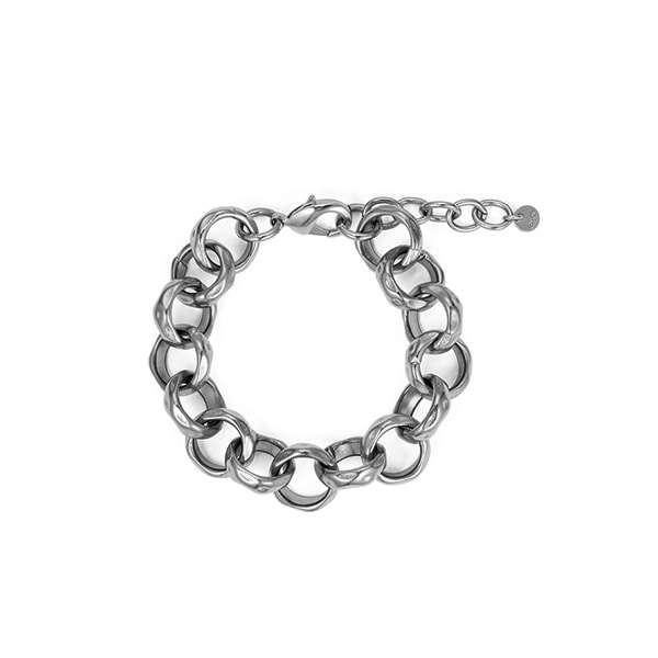 chain bracelet 03_hammered chain_white gold