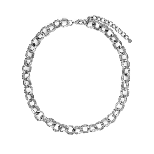 chain necklace 03_hammered chain_white gold