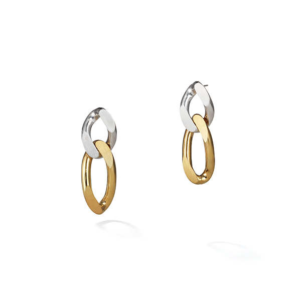 two-tone chain earring 01
