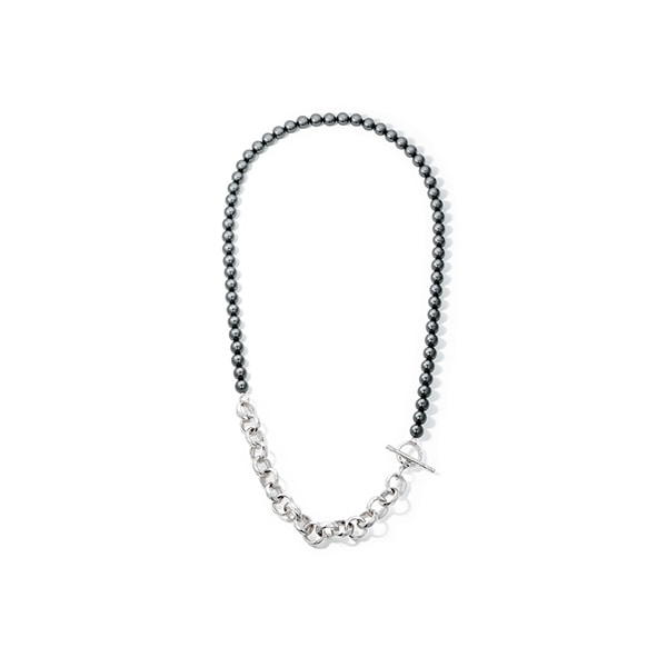 hammered chain_ black pearl necklac